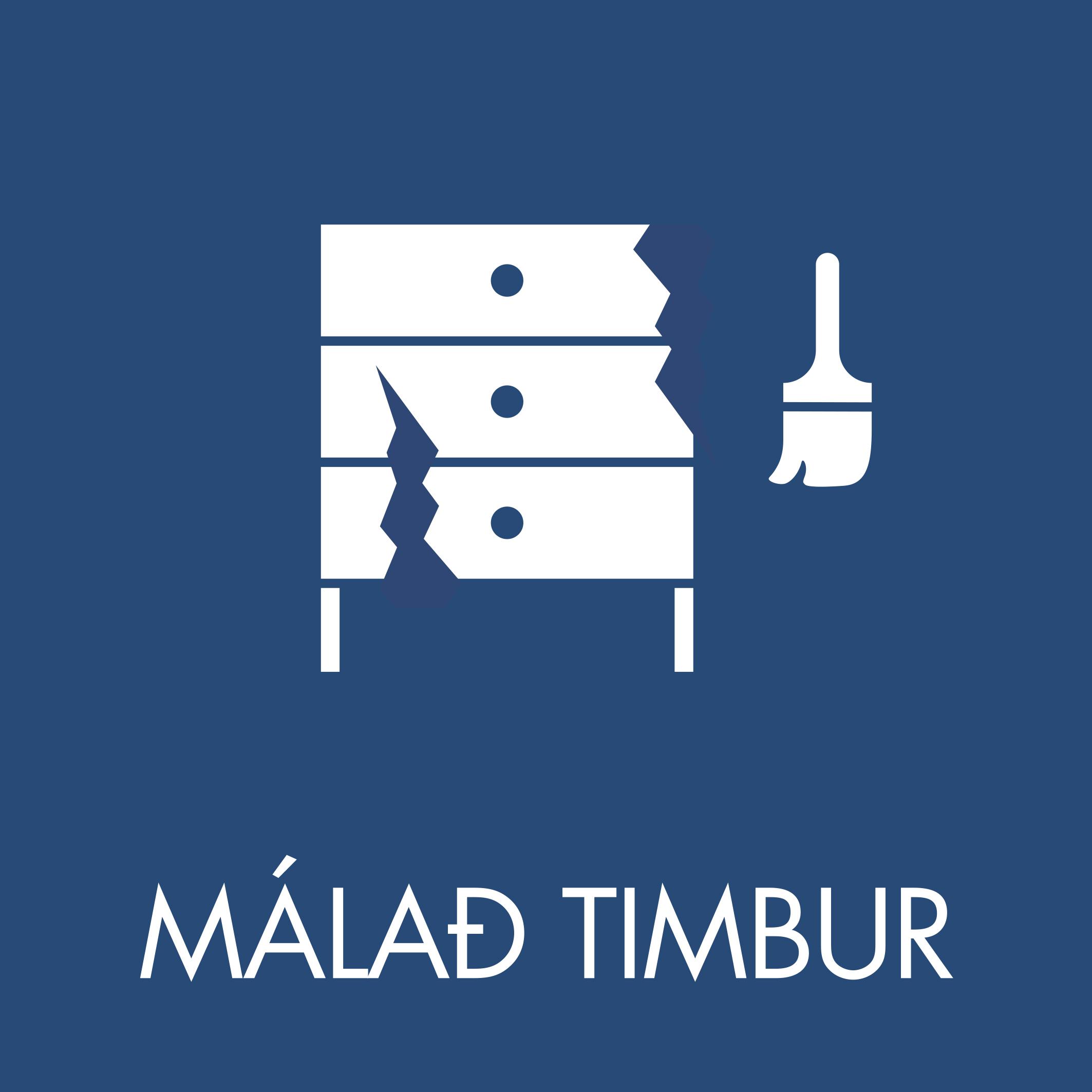 Málað timbur